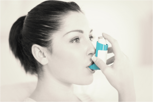 Asthma patient with inhaler